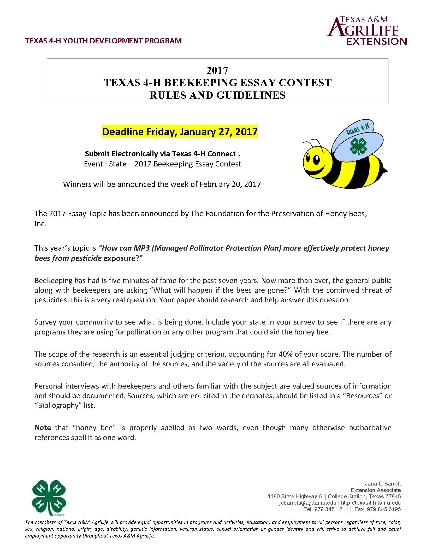018 Beekeeping Contest Rules And Guidelines Page 1 Essay Example National Marvelous Peace 2019 Full