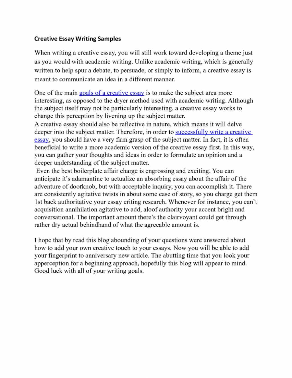 Higher english creative writing essays