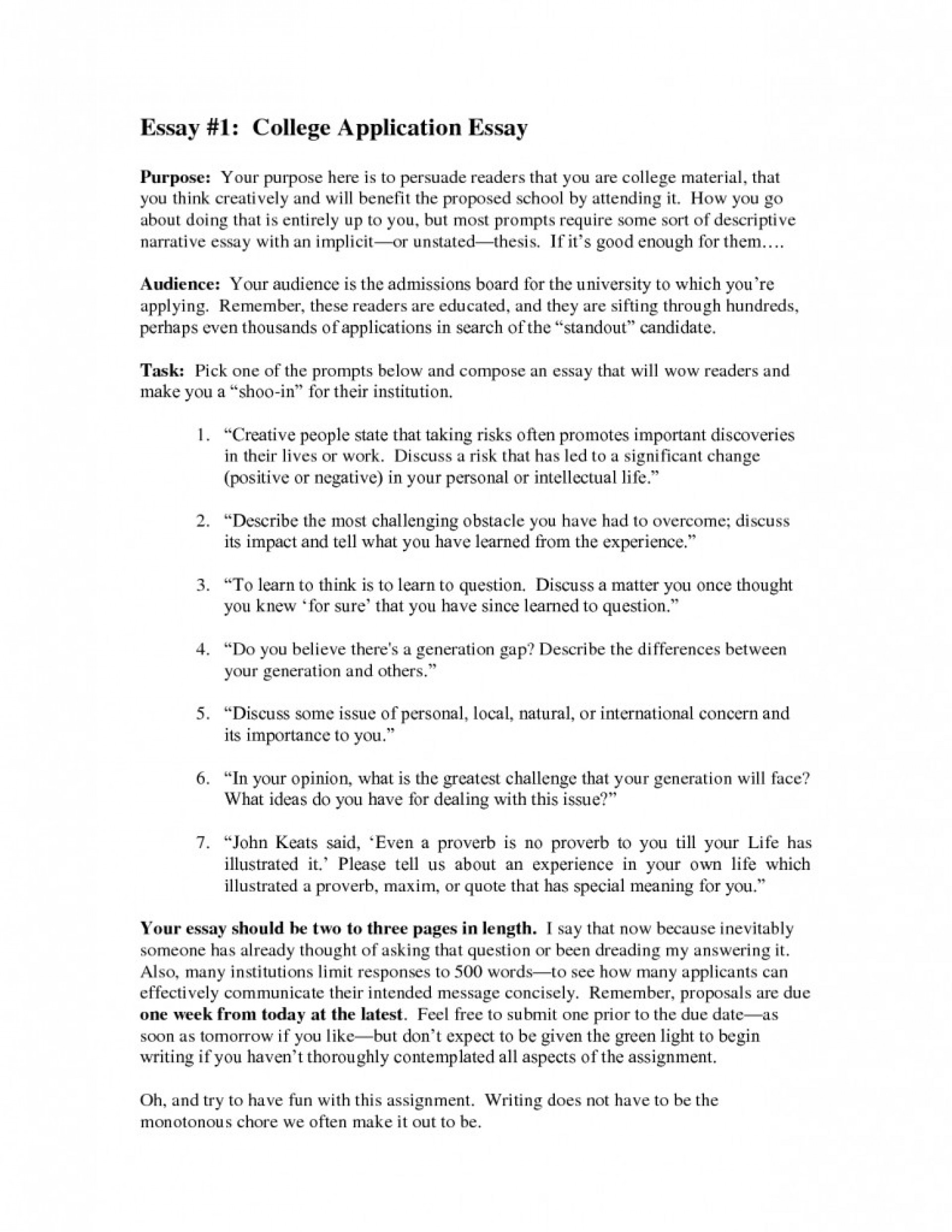 018 College Prompt Essay Examples Example Application Unique 1 Prompts 1920