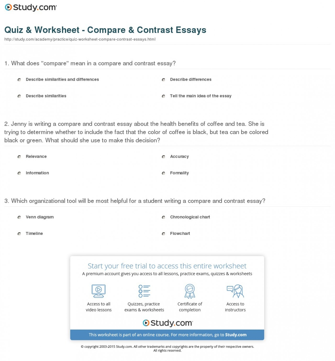 018 Comparison Contrast Essay Topics Quiz Worksheet Compare Essays Magnificent Ielts For Esl Students And Middle School 1400