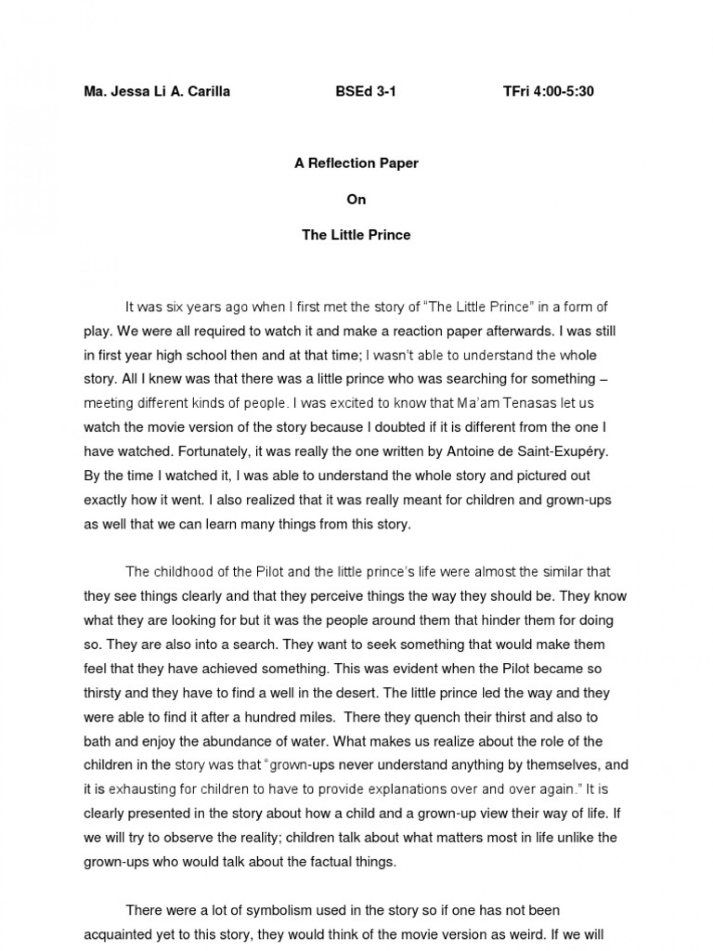 018 Essay Example Unforgettable Reflective Examples About Life Pdf High School Students Apa 1400