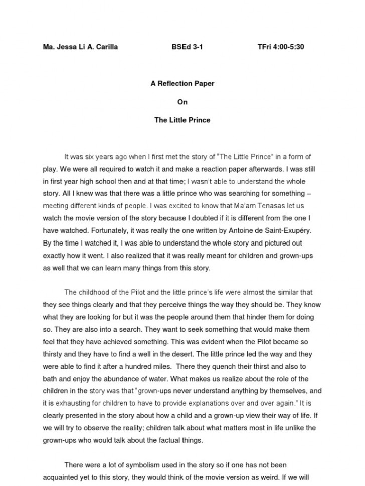 018 Essay Example Unforgettable Reflective Examples About Life Pdf High School Students Apa 728