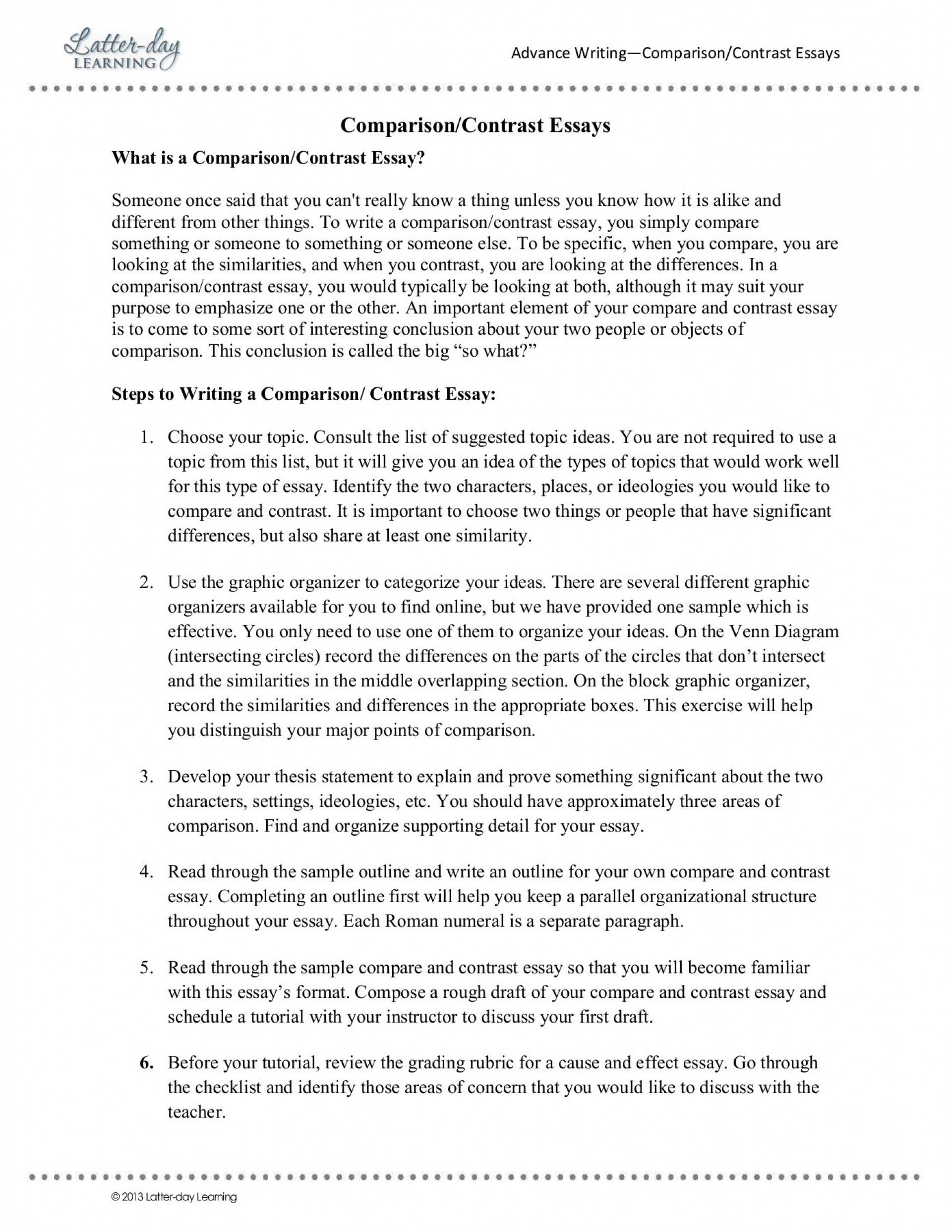018 Essay Example Compare Contrast Best Essays And Rubric Elementary Topics Toefl 6th Grade 1920