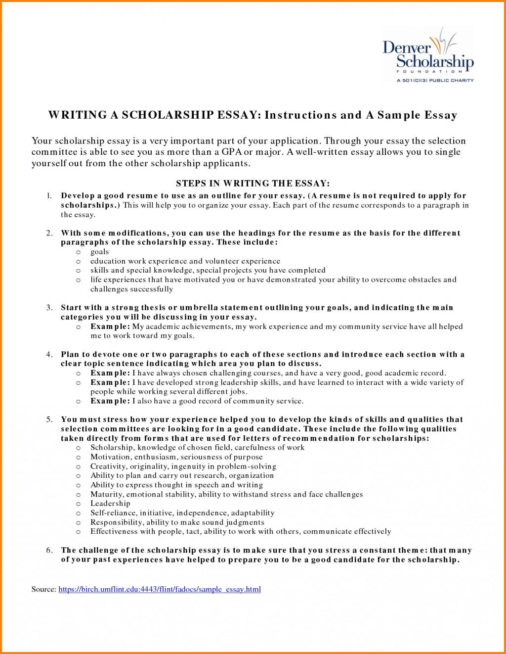 018 Essay Example Fair Resume Examples For Scholarships In Scholarship Sample Of Winning Sensational Essays Large