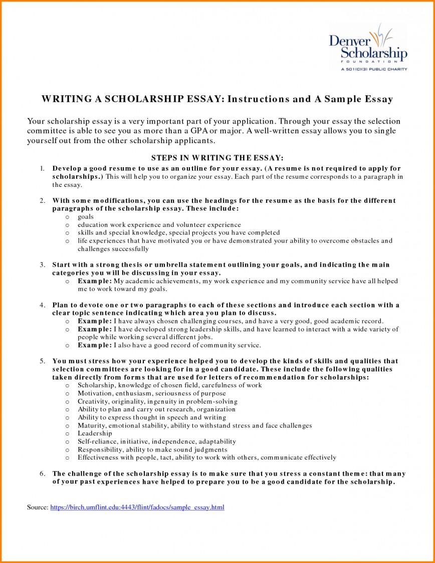 018 Essay Example Fair Resume Examples For Scholarships In Scholarship Sample Of Winning Sensational Essays