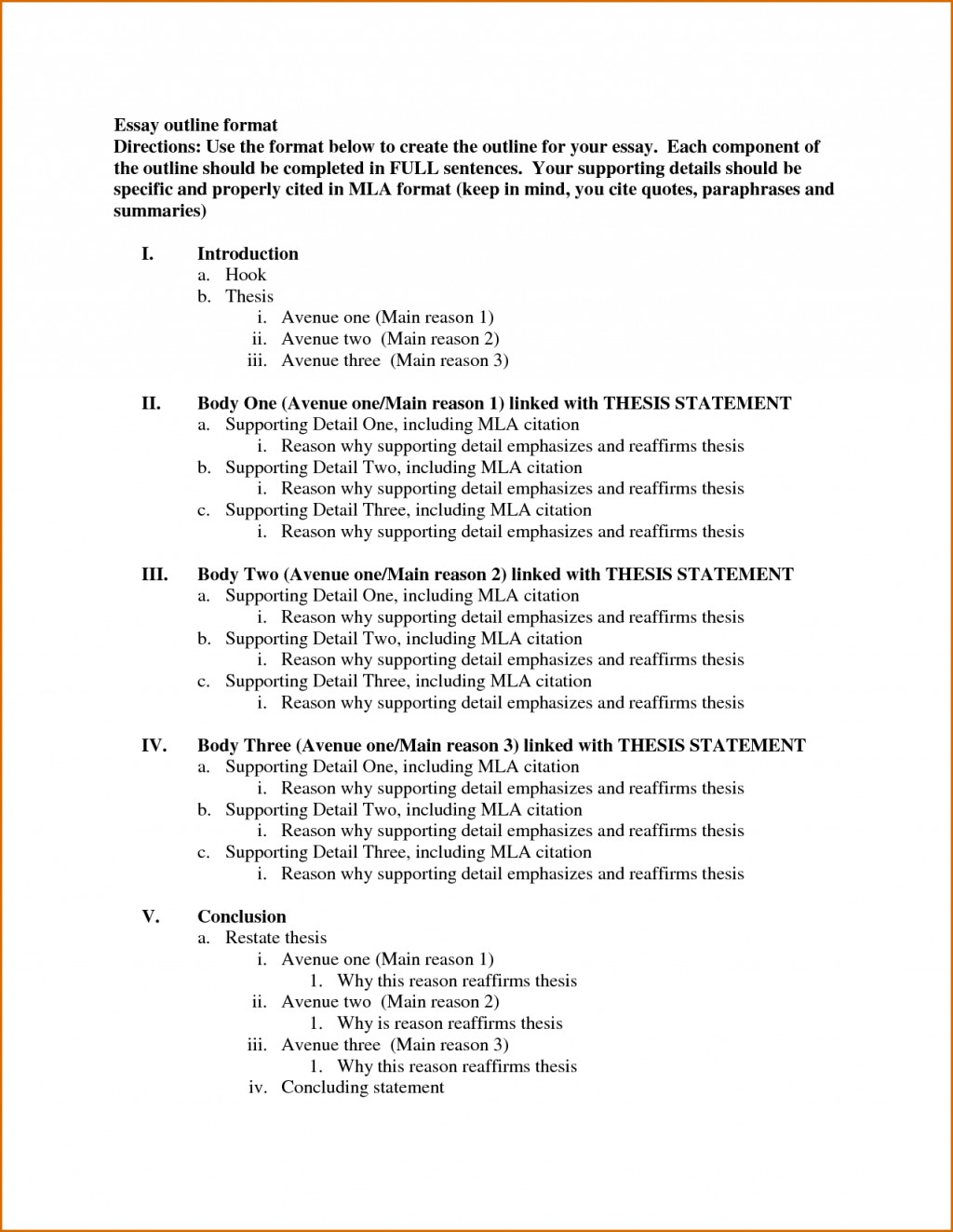 018 Essay Example Outline Template Formal Fearsome Format College Letter Spm Academic Large