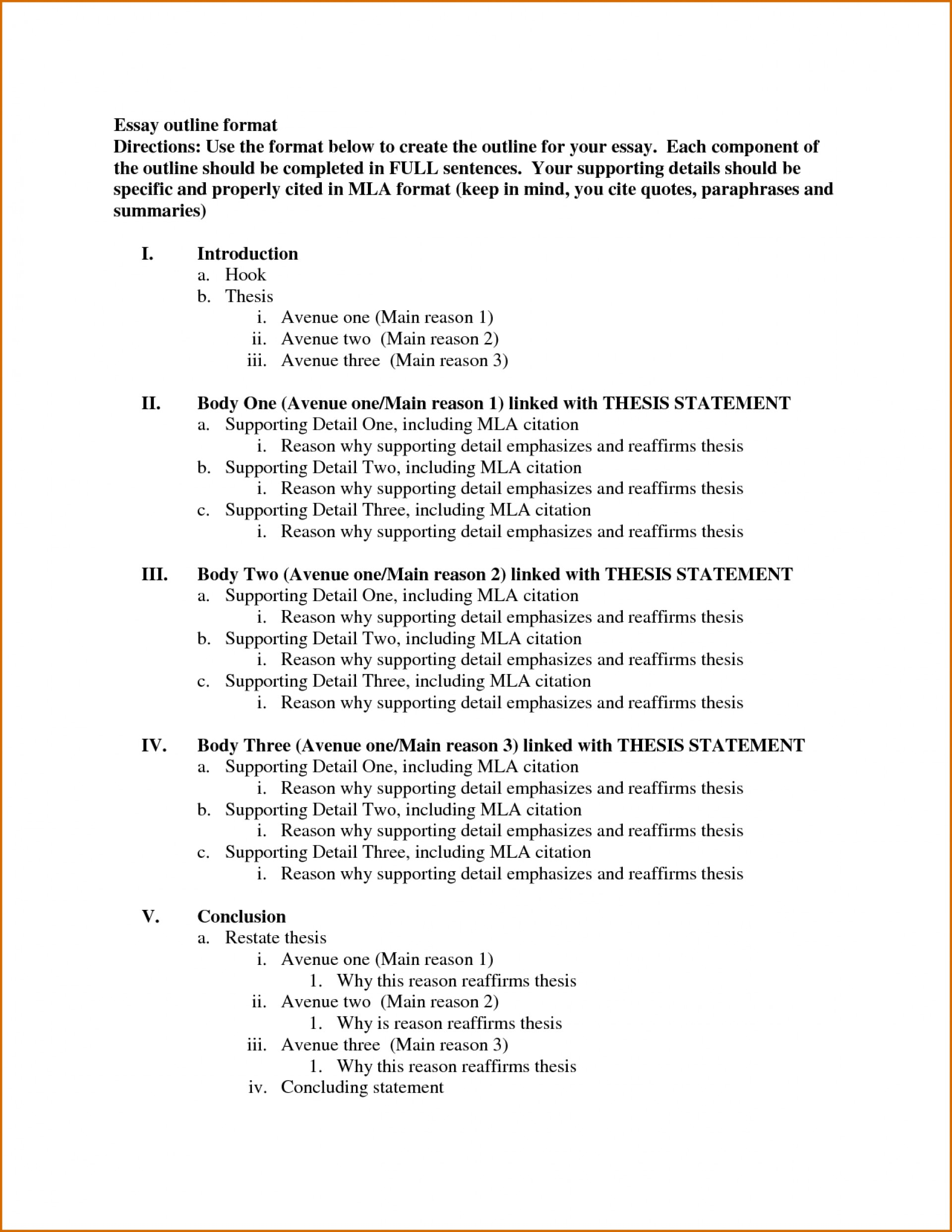 018 Essay Example Outline Template Formal Fearsome Format College Letter Spm Academic 1920