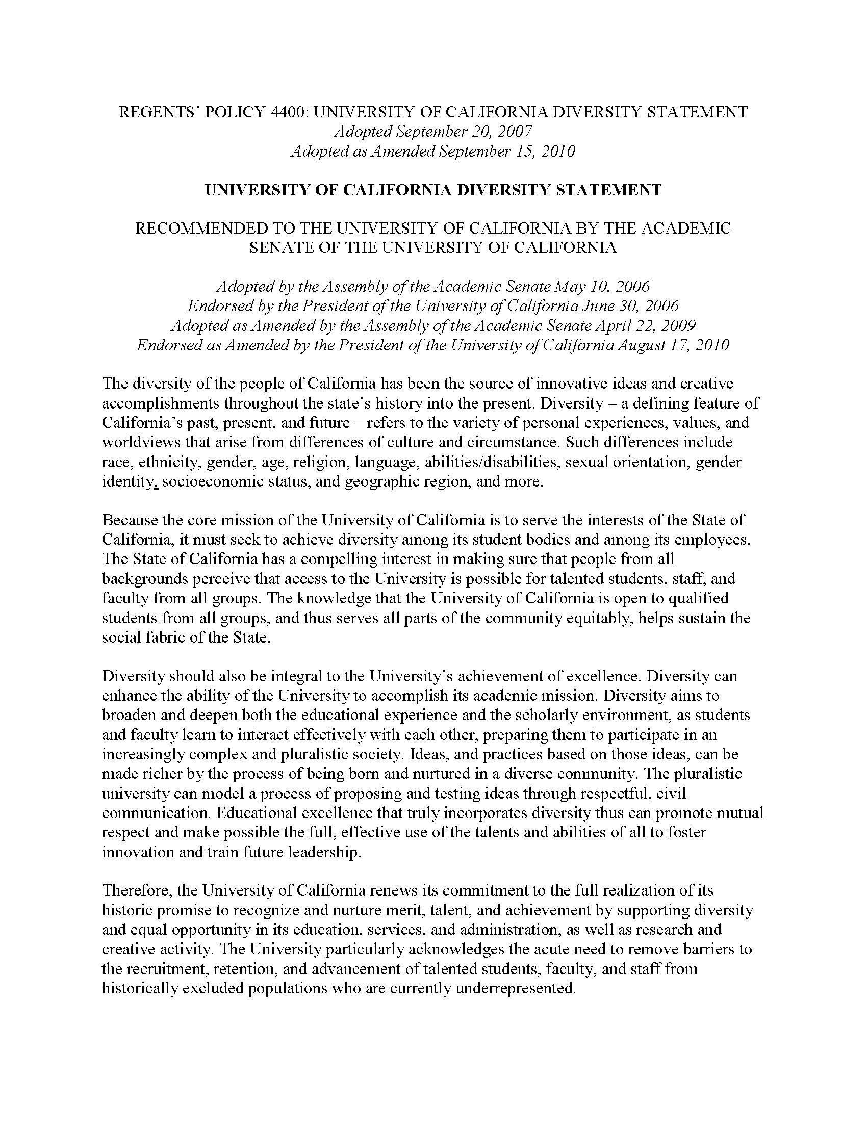 Sample diversity essay