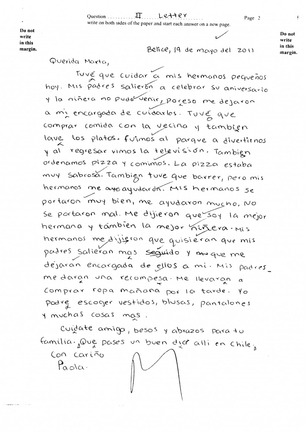018 Essay Example What Is In Spanish Csec June2011 Paper2 Sectionii Letter Pg2 Ex  Imposing English From CalledLarge