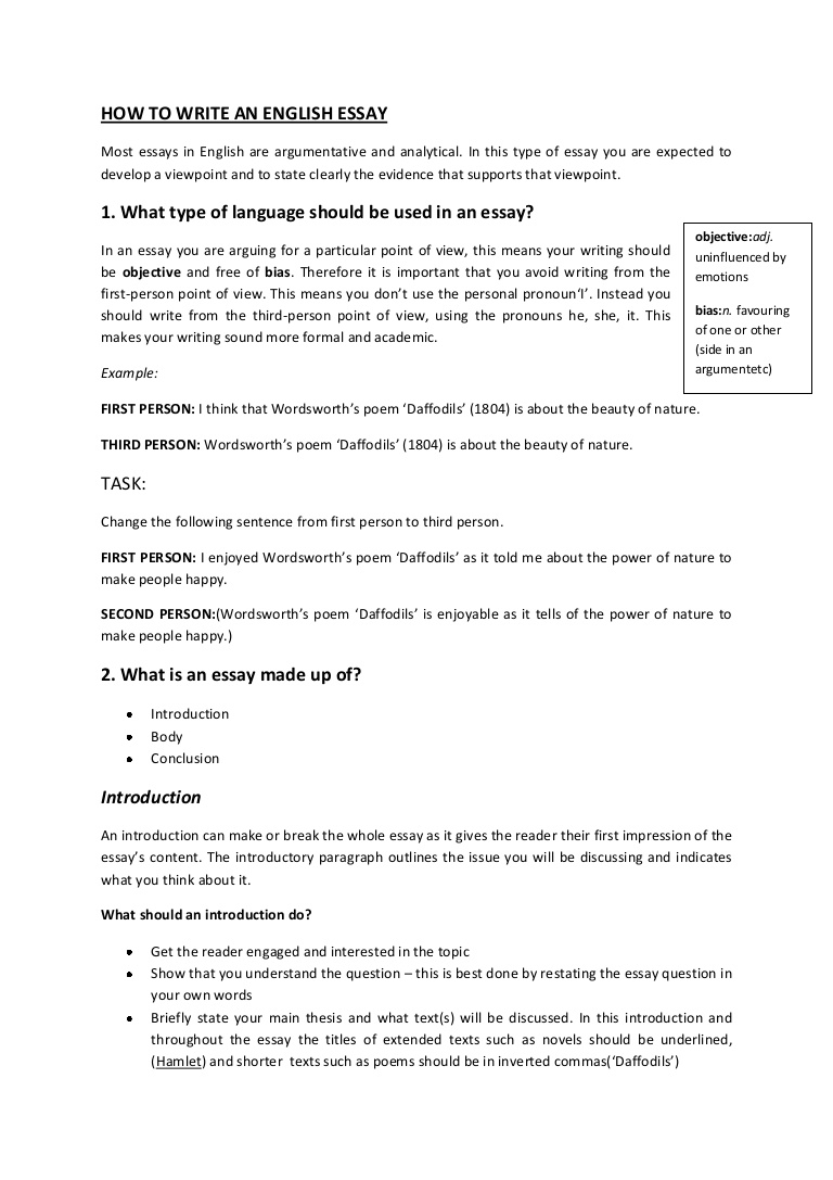 018 Essay Example Write An Howtowriteanenglishessaybooklet Phpapp01 Thumbnail Unbelievable About Yourself In German My For Free App How To Fast Exam Full