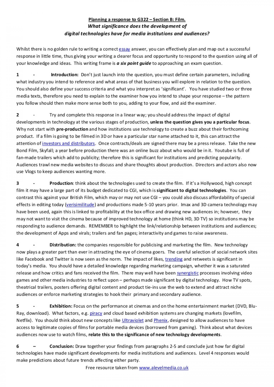 018 Exploratory Essays Modelessayplanforag322mediastudiesfilmresponse Phpapp01 Thumbnail Formidable Essay Examples Research Introduction Thesis 1920