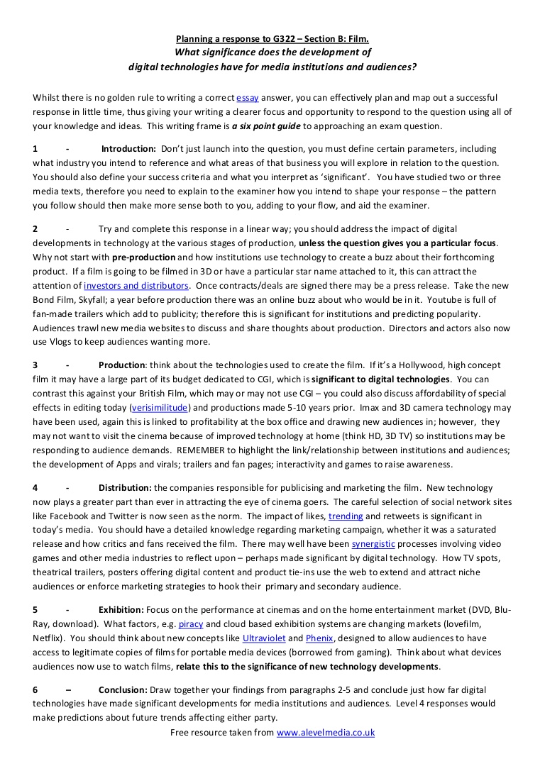 018 Exploratory Essays Modelessayplanforag322mediastudiesfilmresponse Phpapp01 Thumbnail Formidable Essay Examples Sample Topics Introduction Full