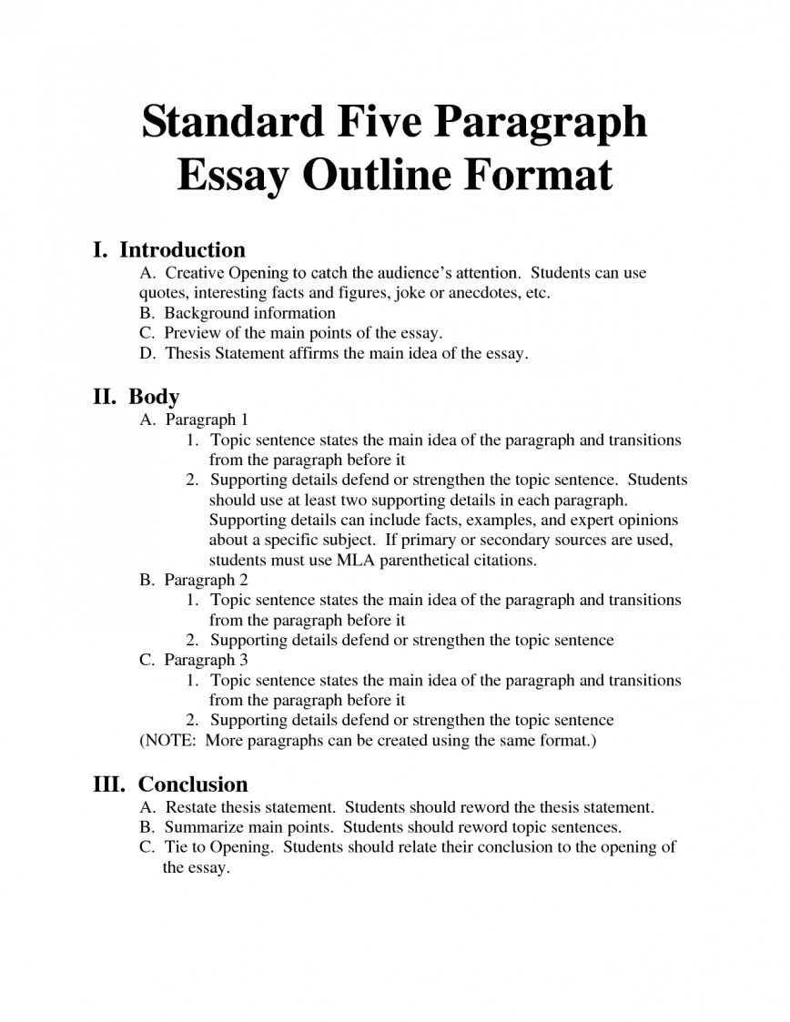 018 Formal Essay Outline Example Archaicawful Research Mla Format Template 868