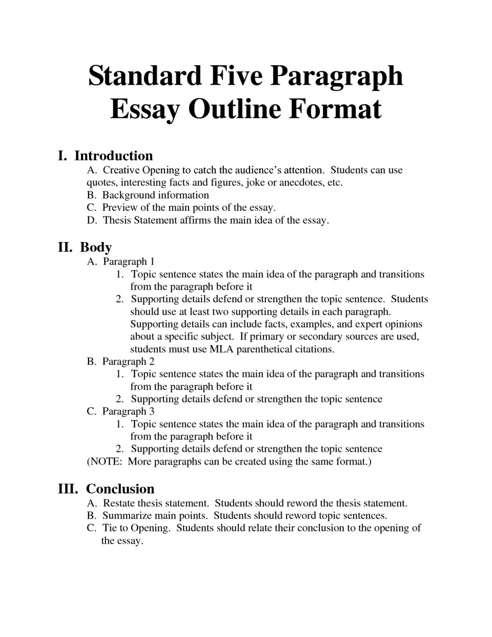 018 Formal Essay Outline Example Archaicawful Research Mla Format Template 960