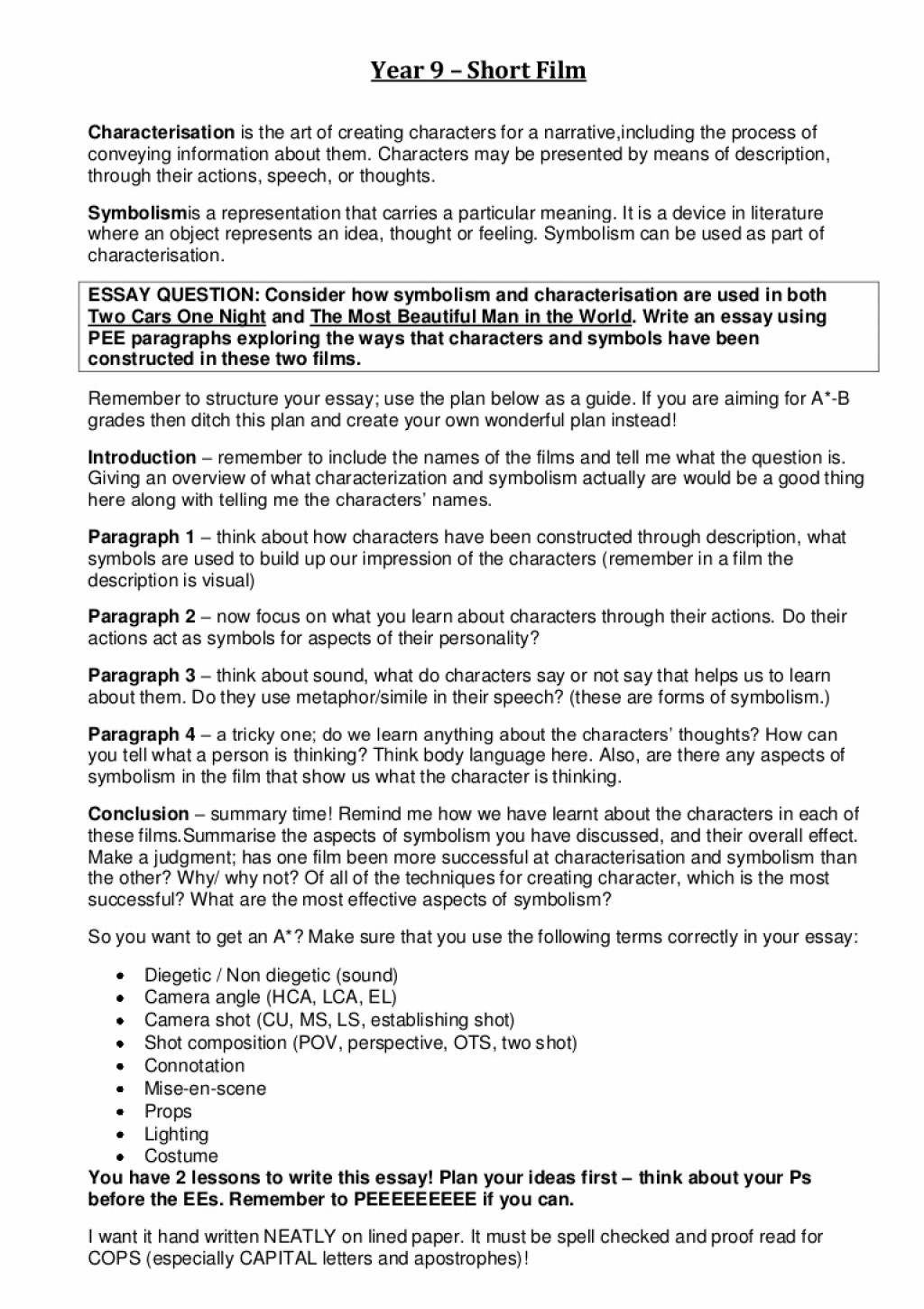 018 How Do You Spell Essay Example Year9shortfilm Chracterisationsymbolismessay Phpapp02 Thumbnail Beautiful U In English Plural Large