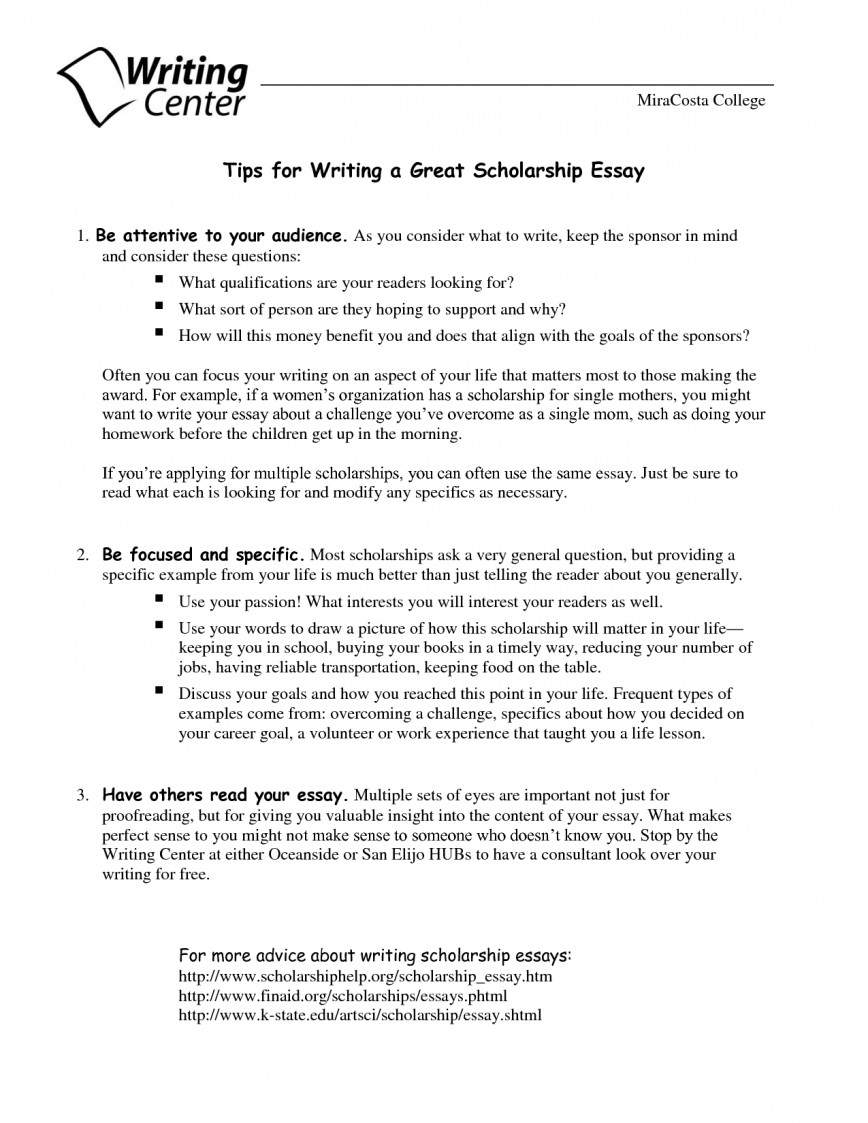 How to write an essay for scholarship