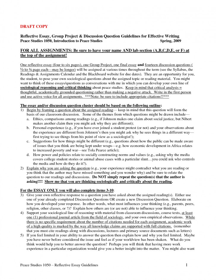018 How To Write Reflective Essay Staggering A Thesis First Class 728