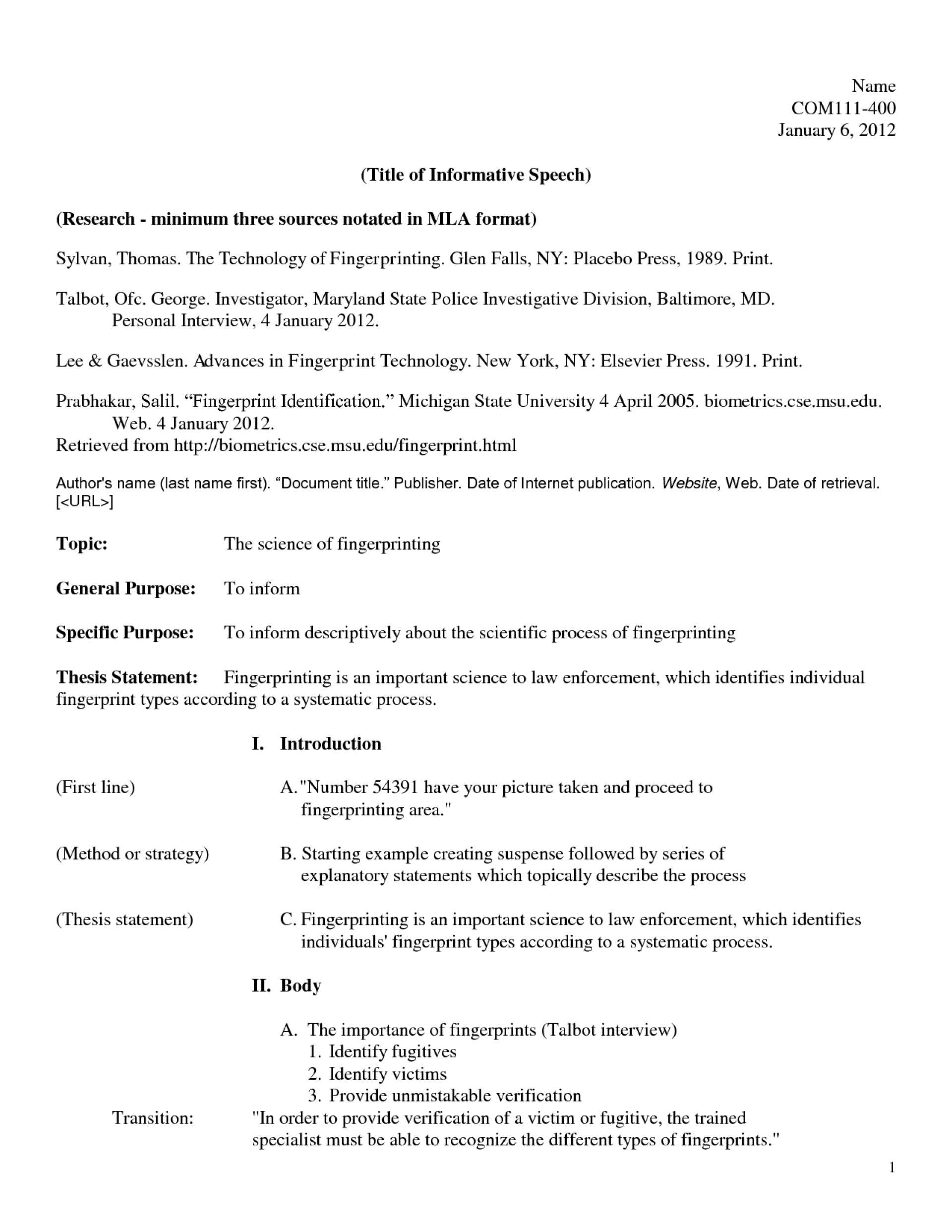018 Informative Speech Outline Example Mla 472980 How To Write An Sensational Essay 4th Grade Thesis 1920
