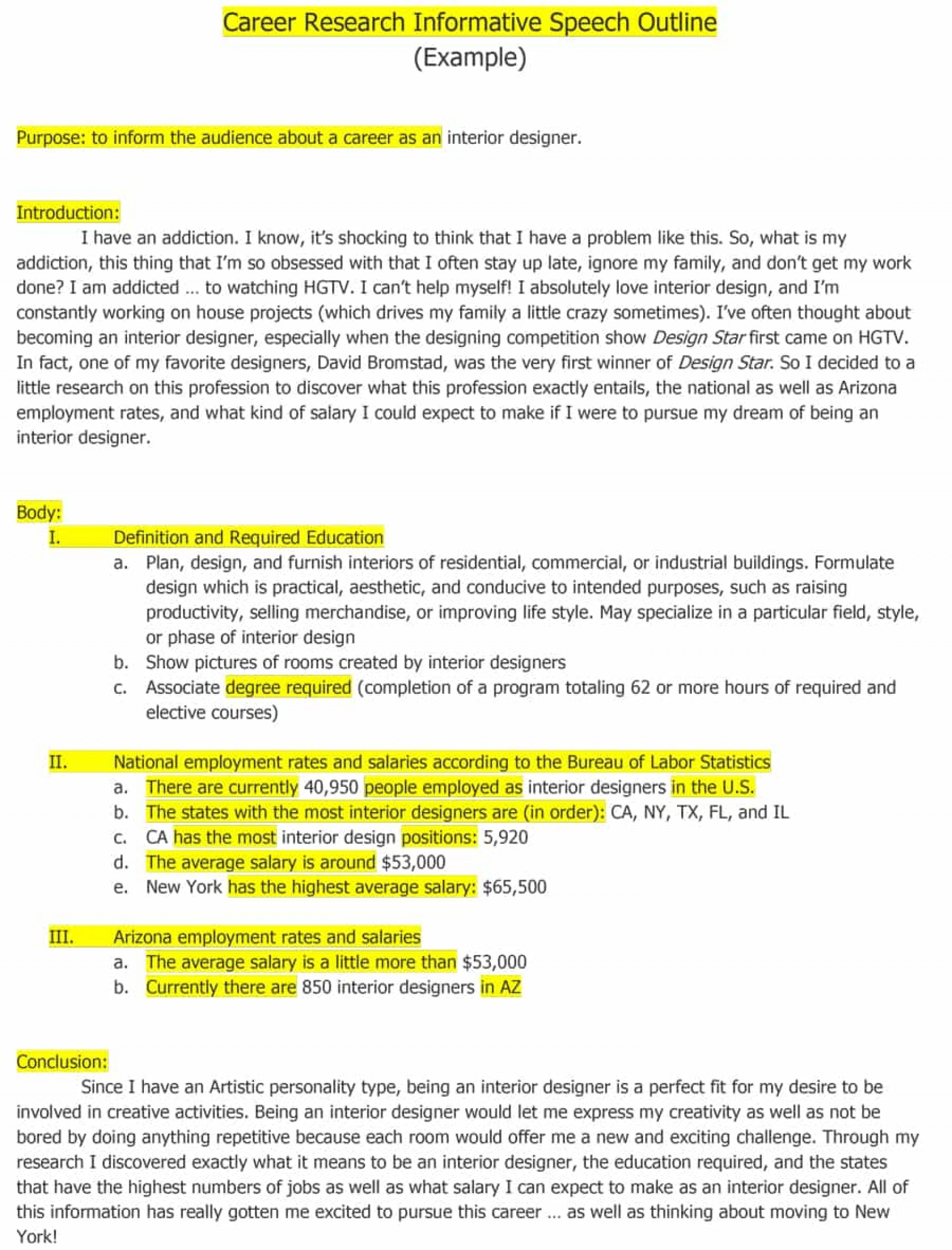 018 Informative Speech Outline What Is An Essay Top Example The Main Purpose Of 1920