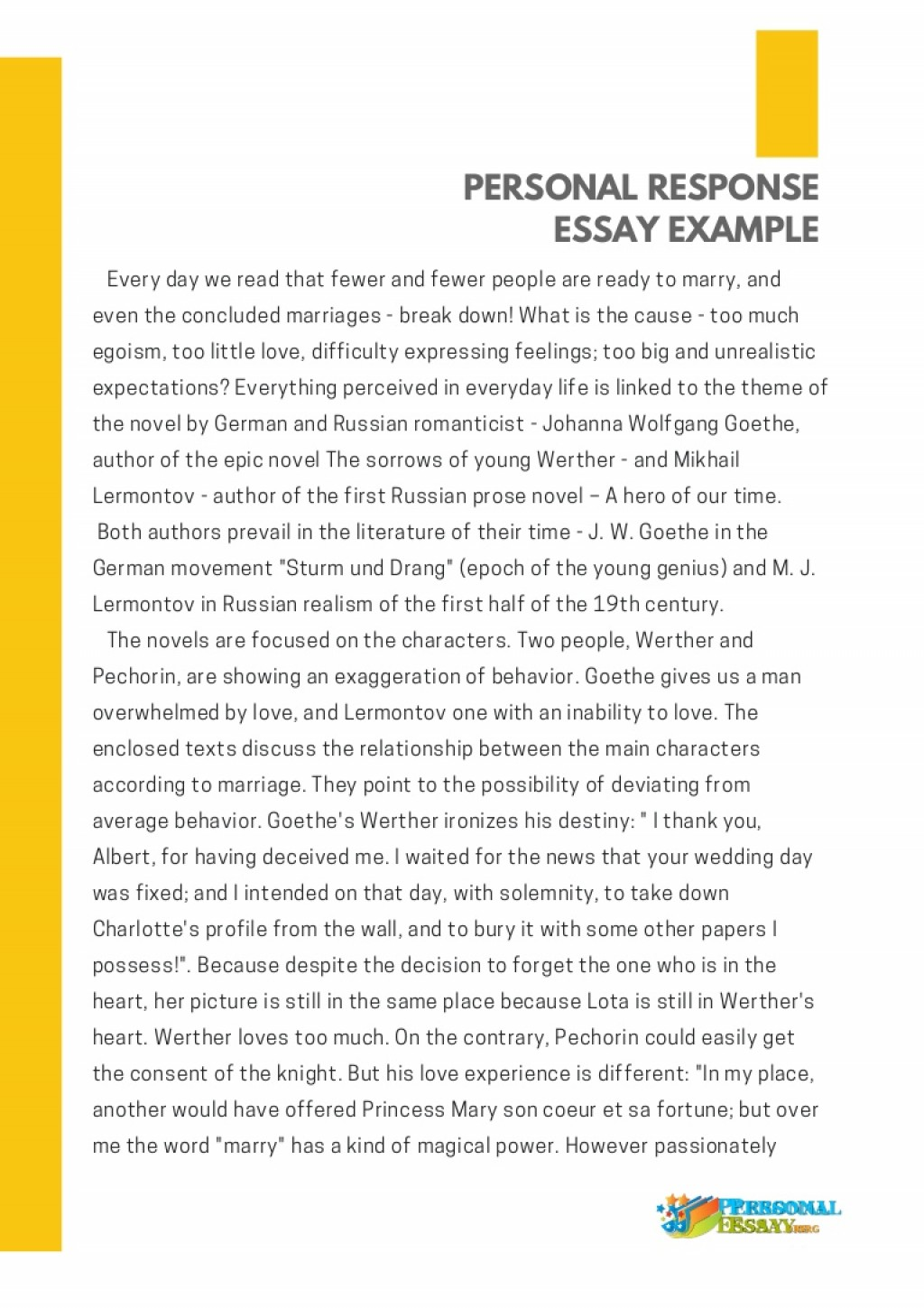 018 Personal Response Essay Example Thumbnail Awful Text Analysis Extended Year 12 Large