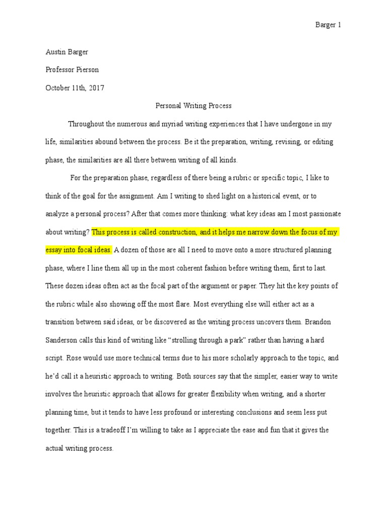 018 Process Essay Ideas Example Personal Writing Austinbarger Final Editing Essays Who Am I Introduction Examples Marvelous Funny Analysis Full