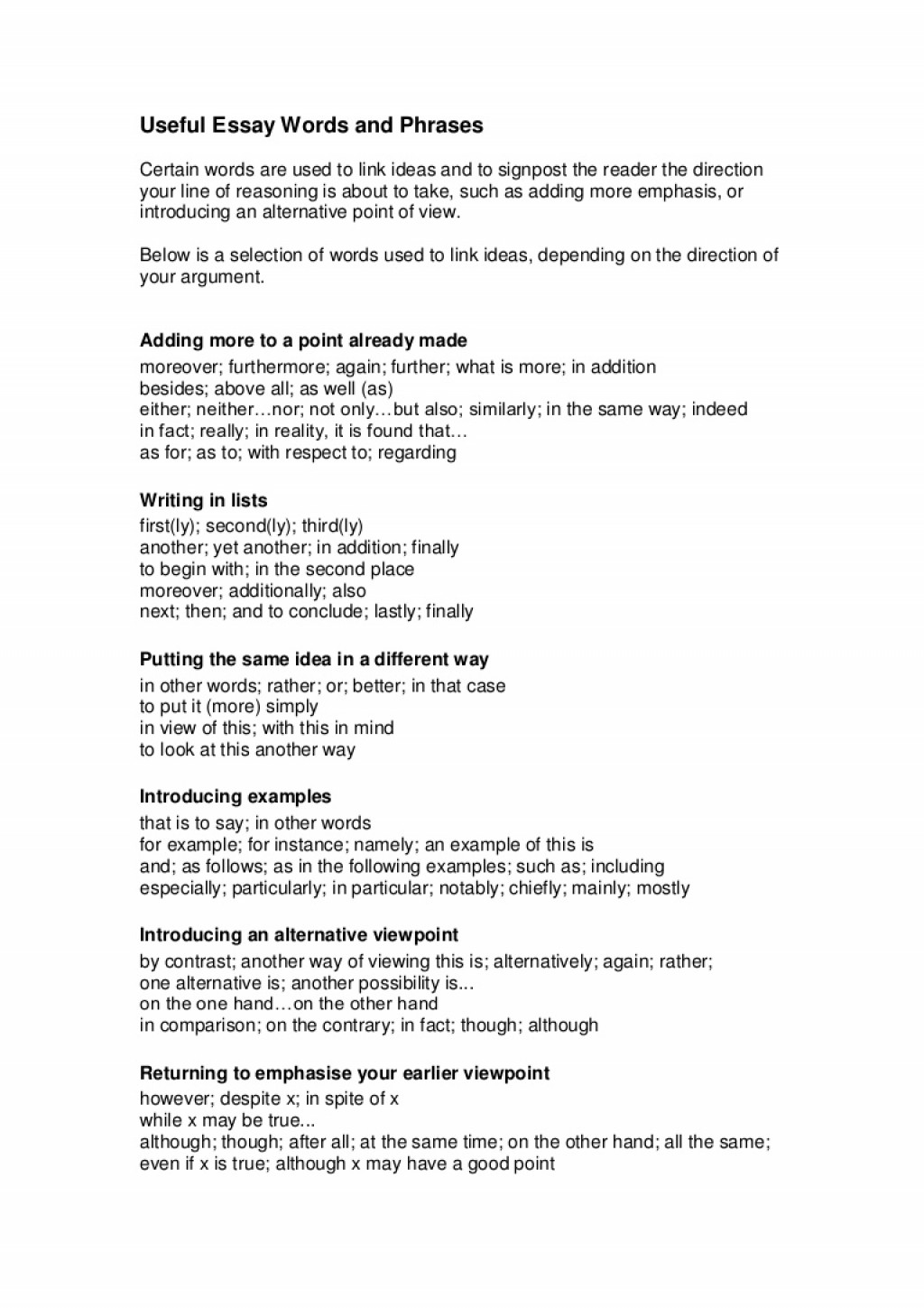 018 Writtenassignments2usefulessaywordsandphrases Phpapp02 Thumbnail Opening Sentences For Essays Essay Unique Examples Of Good College Paragraphs Starting Large