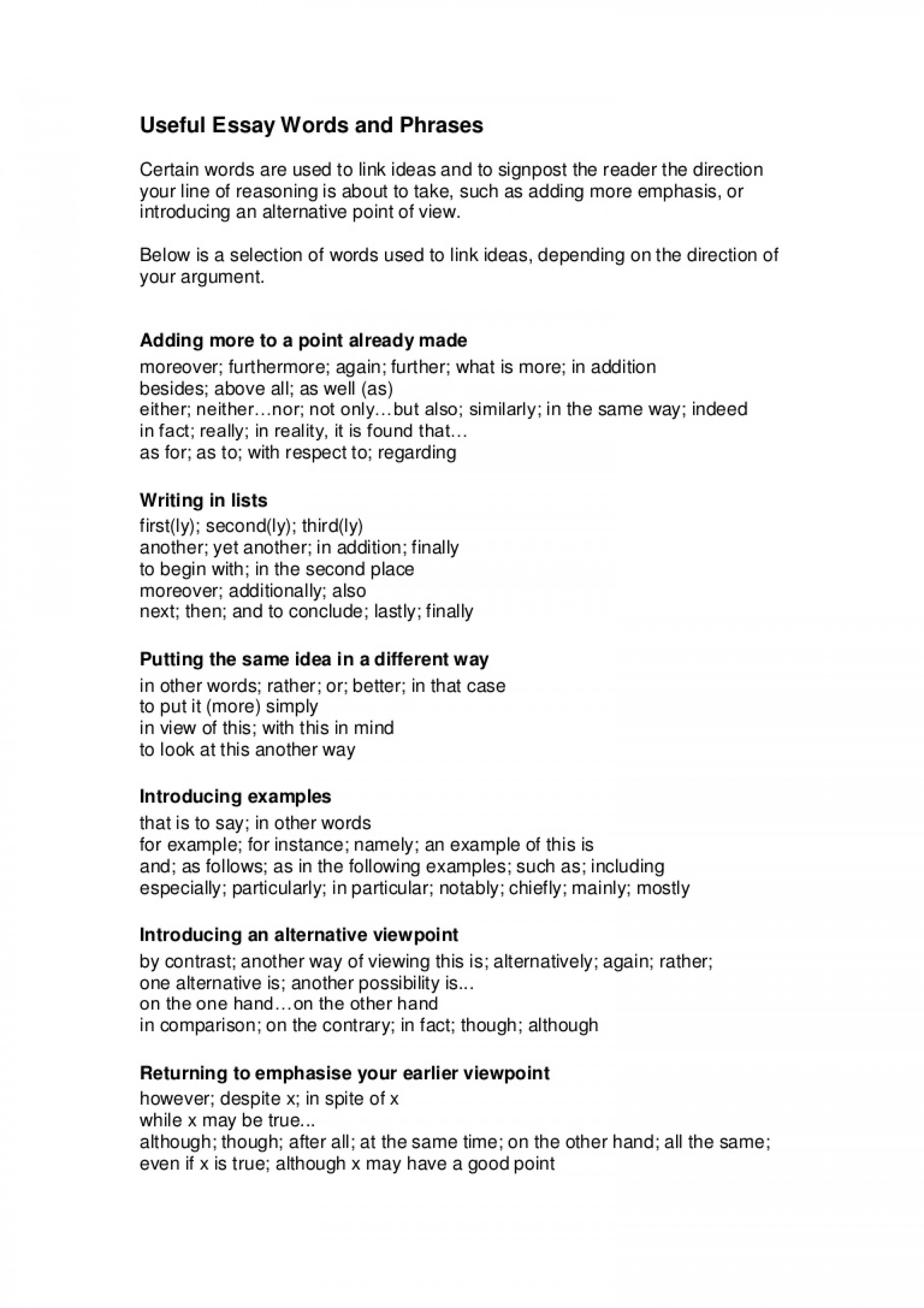 018 Writtenassignments2usefulessaywordsandphrases Phpapp02 Thumbnail Opening Sentences For Essays Essay Unique Examples Of Good College Paragraphs Starting 1920