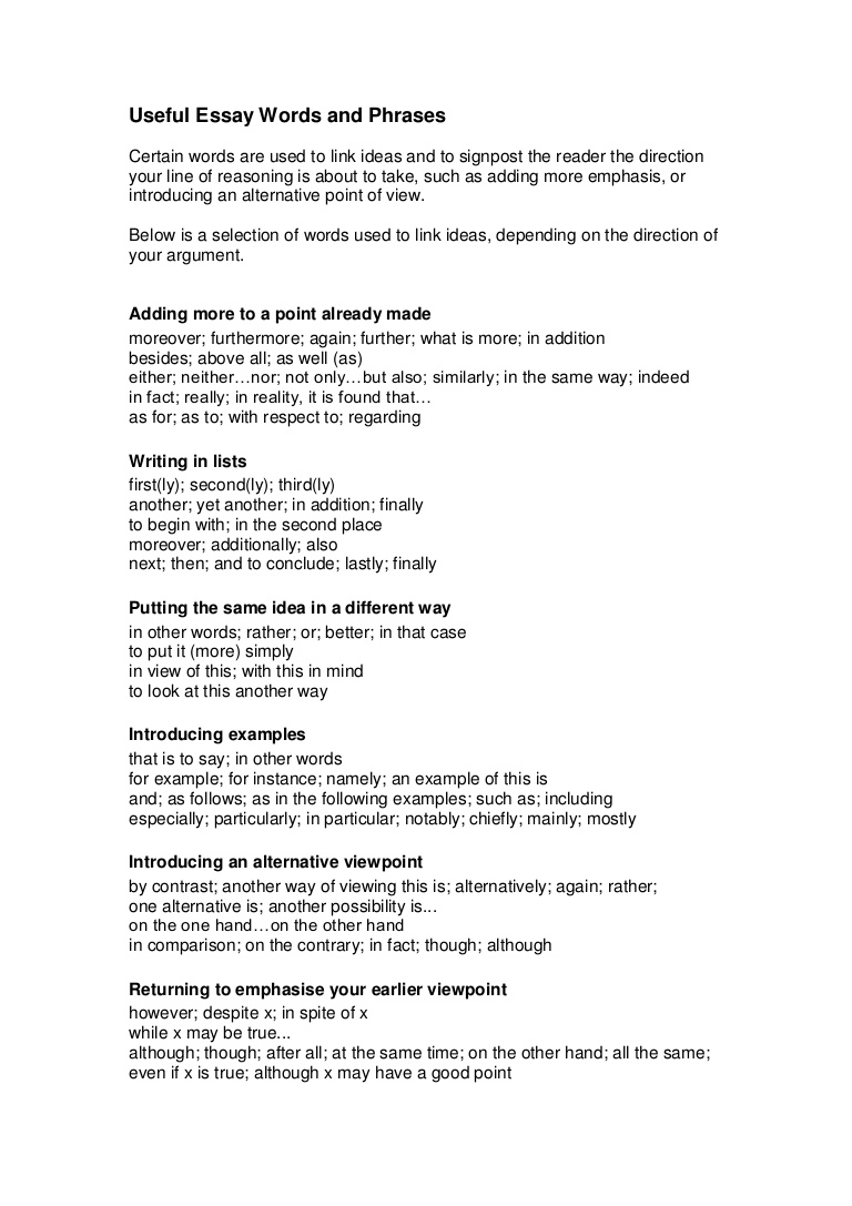 018 Writtenassignments2usefulessaywordsandphrases Phpapp02 Thumbnail Opening Sentences For Essays Essay Unique Good Closing Examples Great Introductory Ielts Full