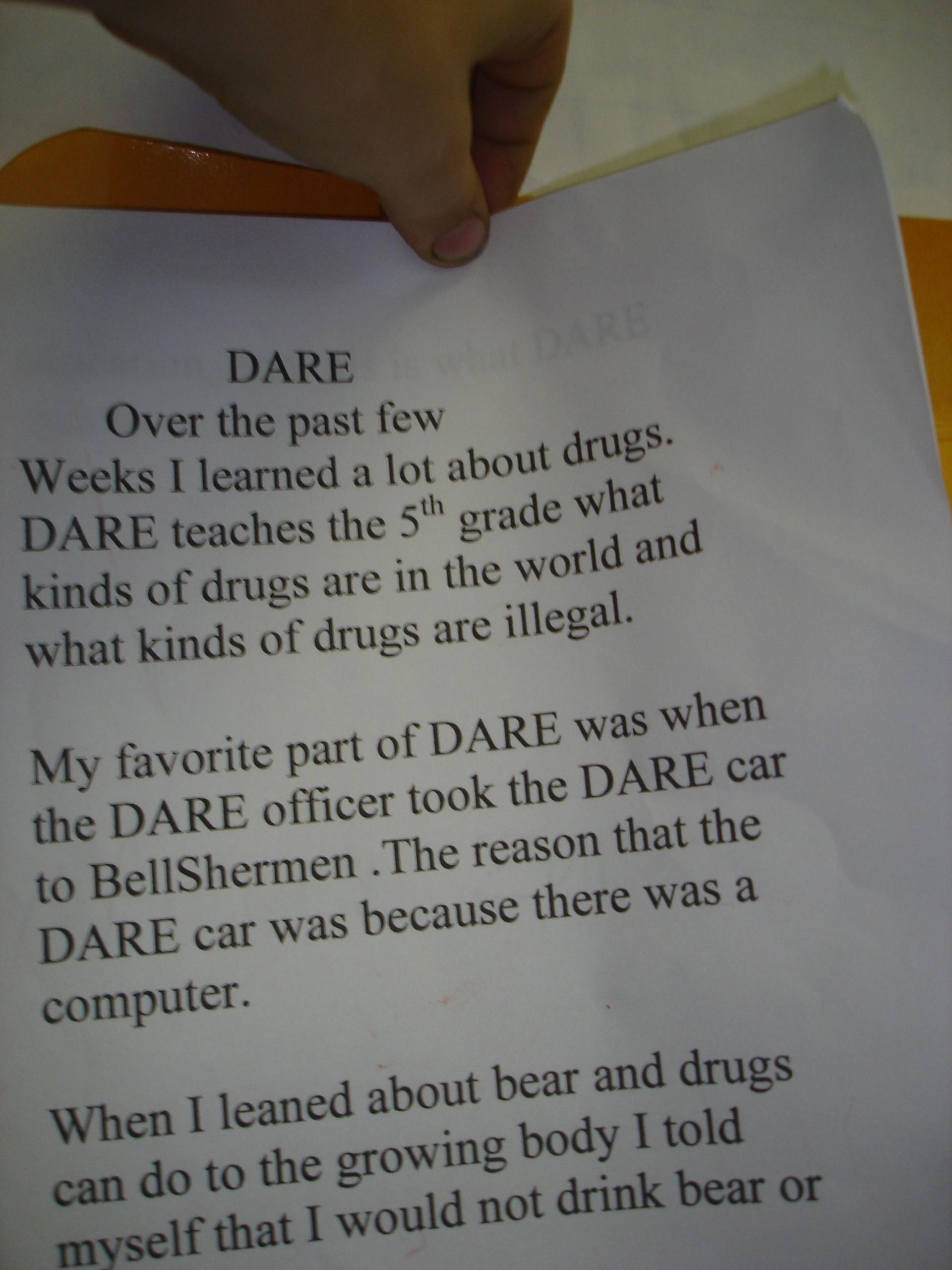 Dare Essay 5th Grade Examples Winning Essays