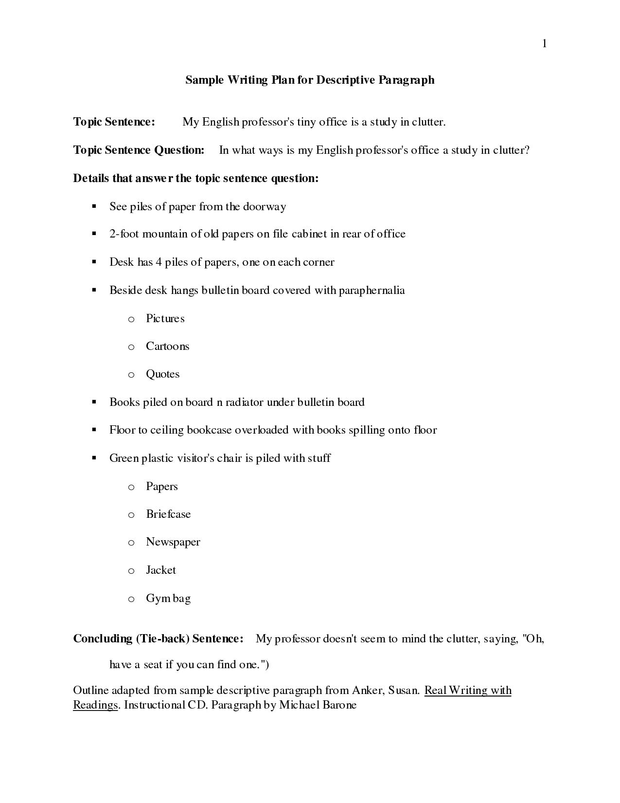 Outline of a descriptive essay