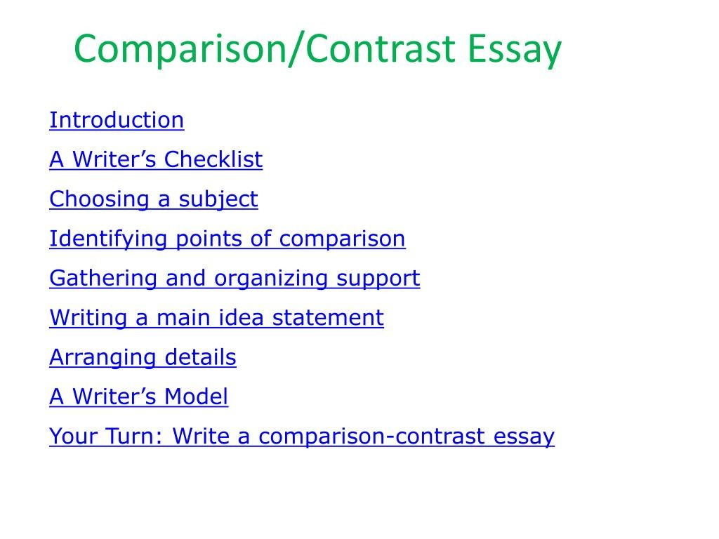 019 Comparison And Contrast Essay L Awful Topics List Thesis Statement Compare Means Large