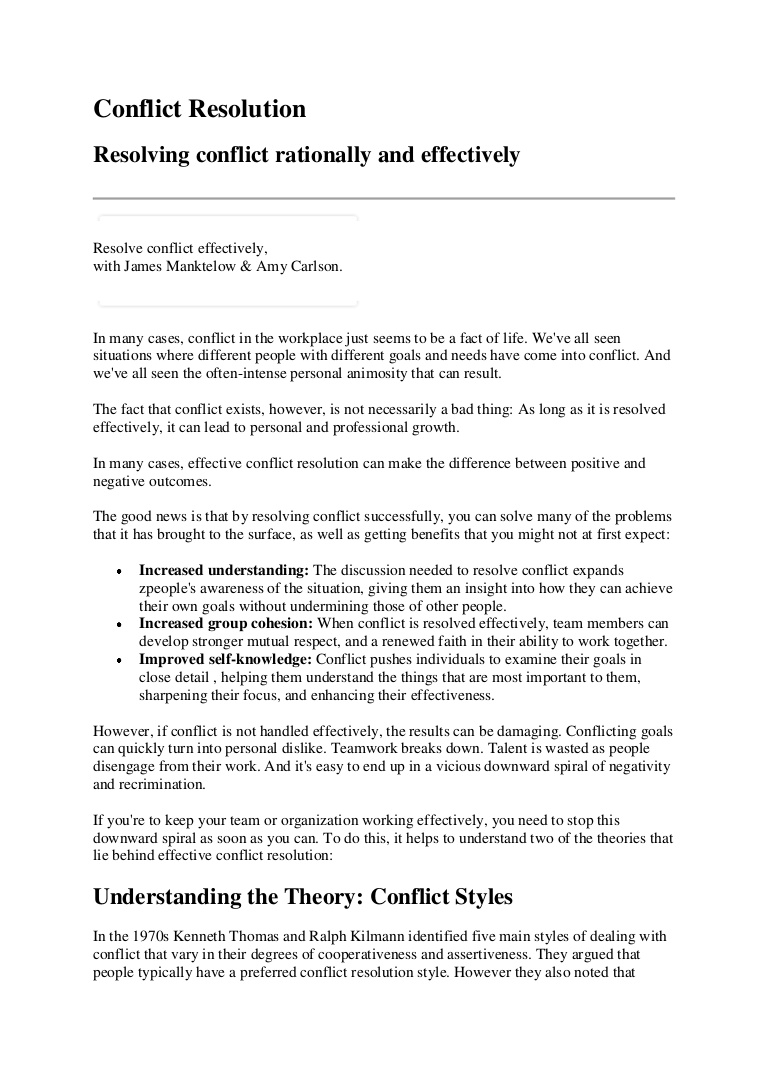 Essays on conflict resolution