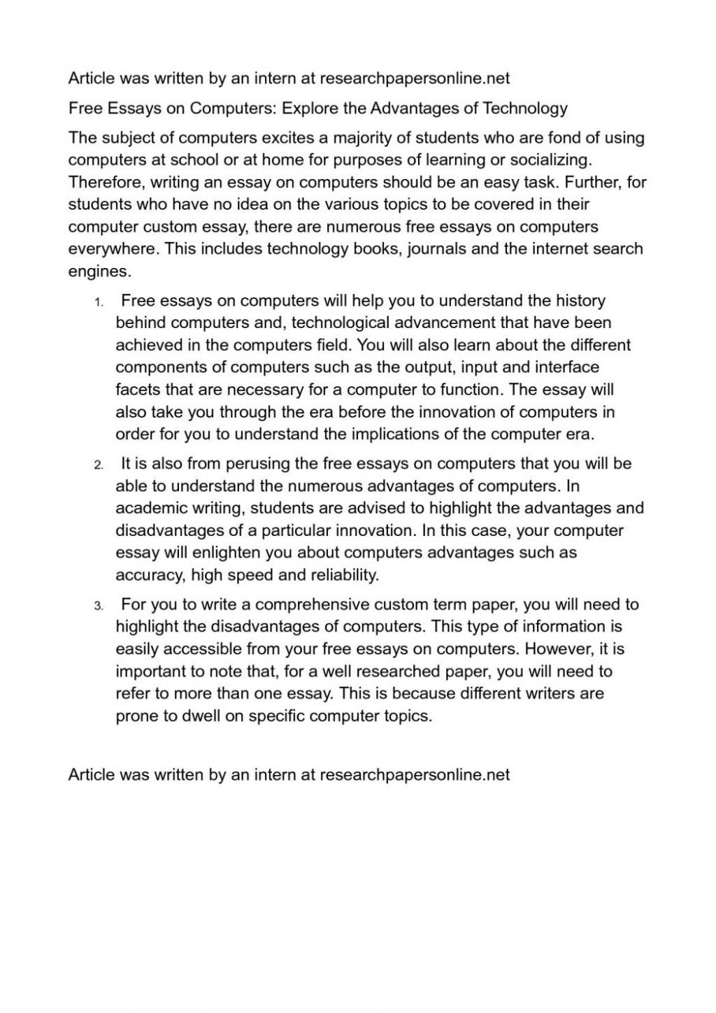 011 Essay About Modern Technology Example Firstpage ~ Thatsnotus