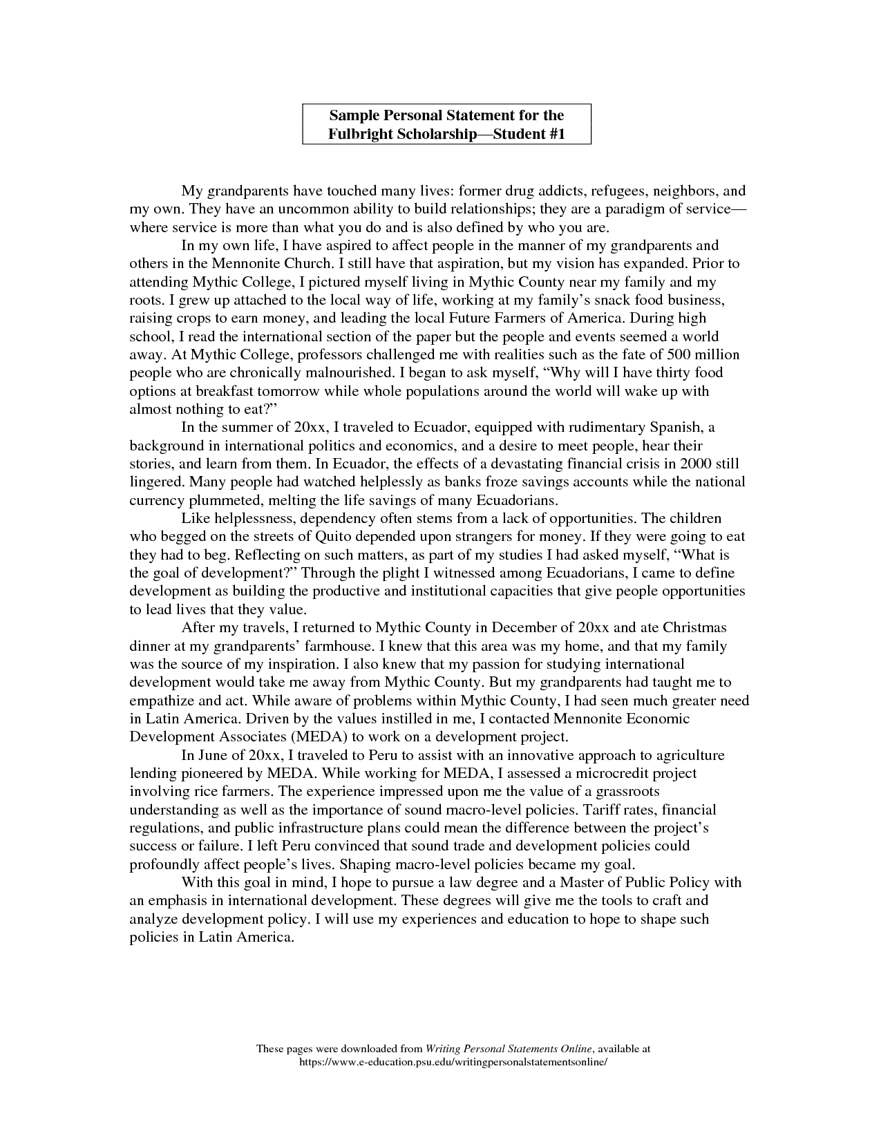 college personal statement examples 250 words