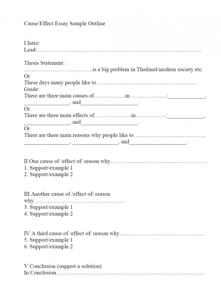 019 Essay Example Outline For Cause Effect Marvelous Worksheet Format Research Paper Introduction 728