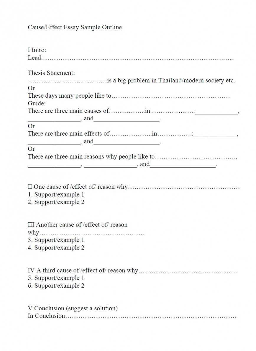 019 Essay Example Outline For Cause Effect Marvelous Worksheet Format Research Paper Introduction 868