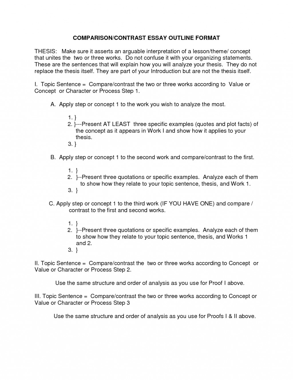 019 Essay Example Outline Format 2 Stupendous Comparison And Contrast Examples Free Pdf Large