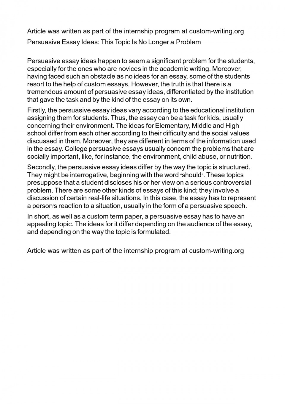019 Essay Example Persuasive Topics Middle 480361 Essays For Shocking School Informative Writing Leadership High Students 960