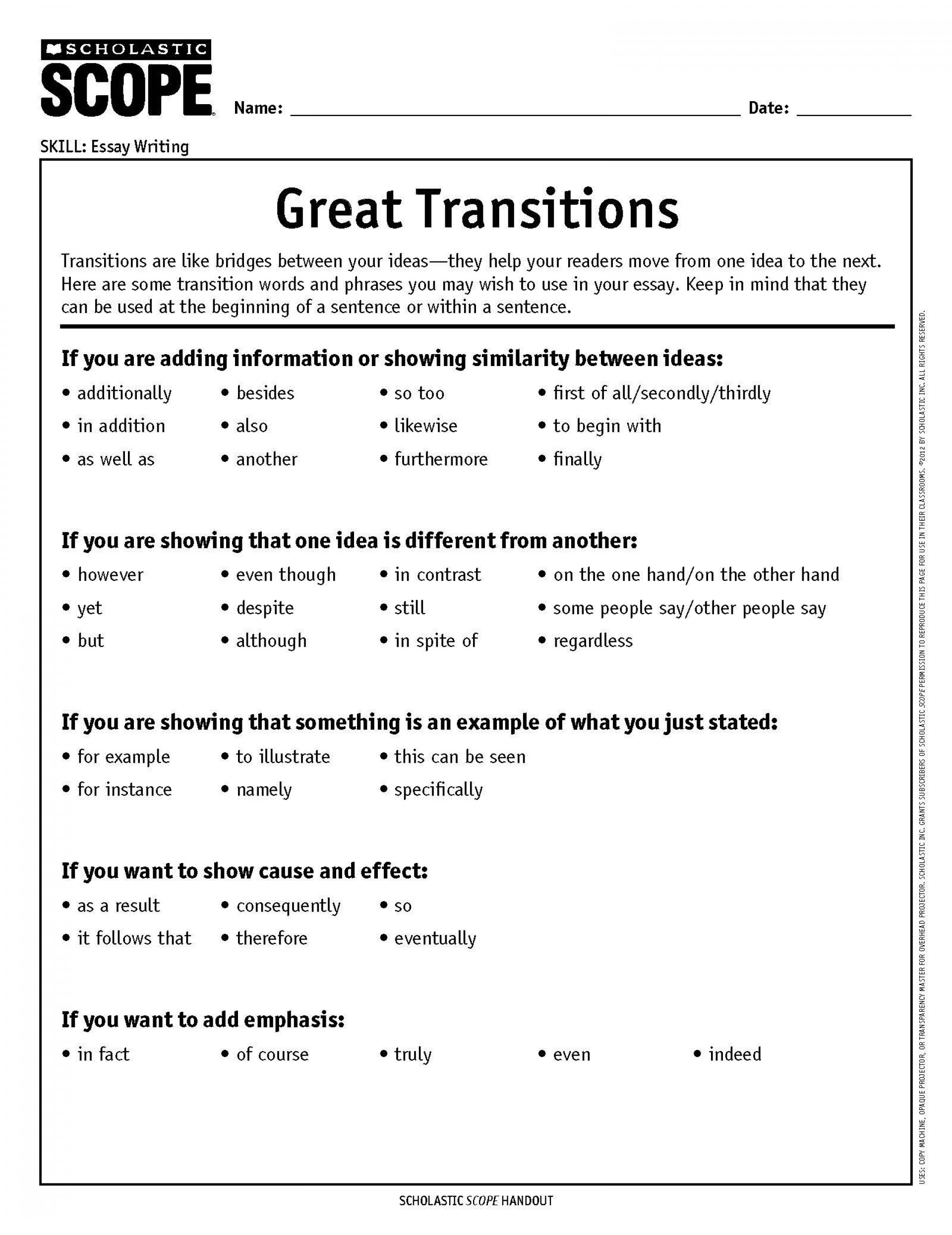 019 Essay Example Transitions How To Choose The Perfect Transition Word Or Phrase Writing Words For An List Of Transitional Essays Pdf Archaicawful Sentences Sat Phrases 1920