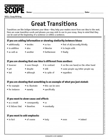 019 Essay Example Transitions How To Choose The Perfect Transition Word Or Phrase Writing Words For An List Of Transitional Essays Pdf Archaicawful In Spanish Concluding Sentence Between Paragraphs 360