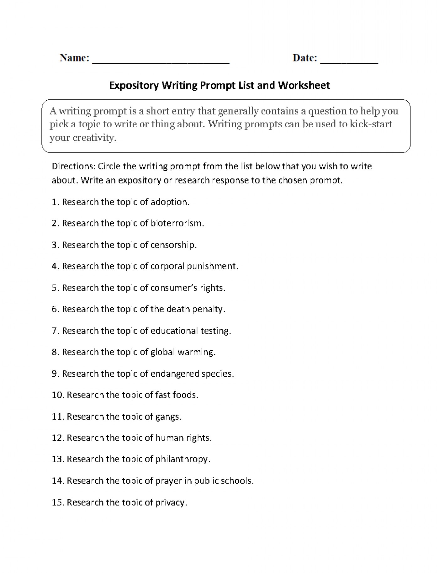 019 Essay Topics Example Expository Archaicawful For High School English Kids Grade 8 Pdf 1400