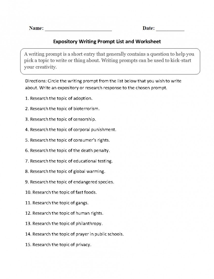 019 Essay Topics Example Expository Archaicawful For High School English Kids Grade 8 Pdf 868