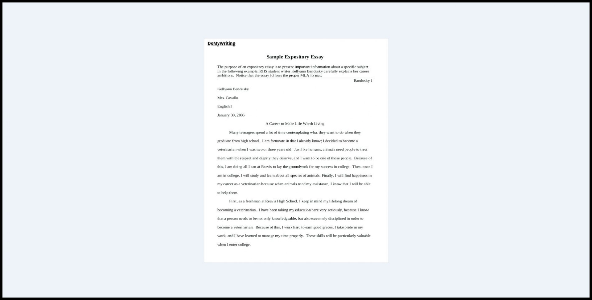 019 Expository Essay Samples Impressive Theme Examples High School For 7th Grade 1920