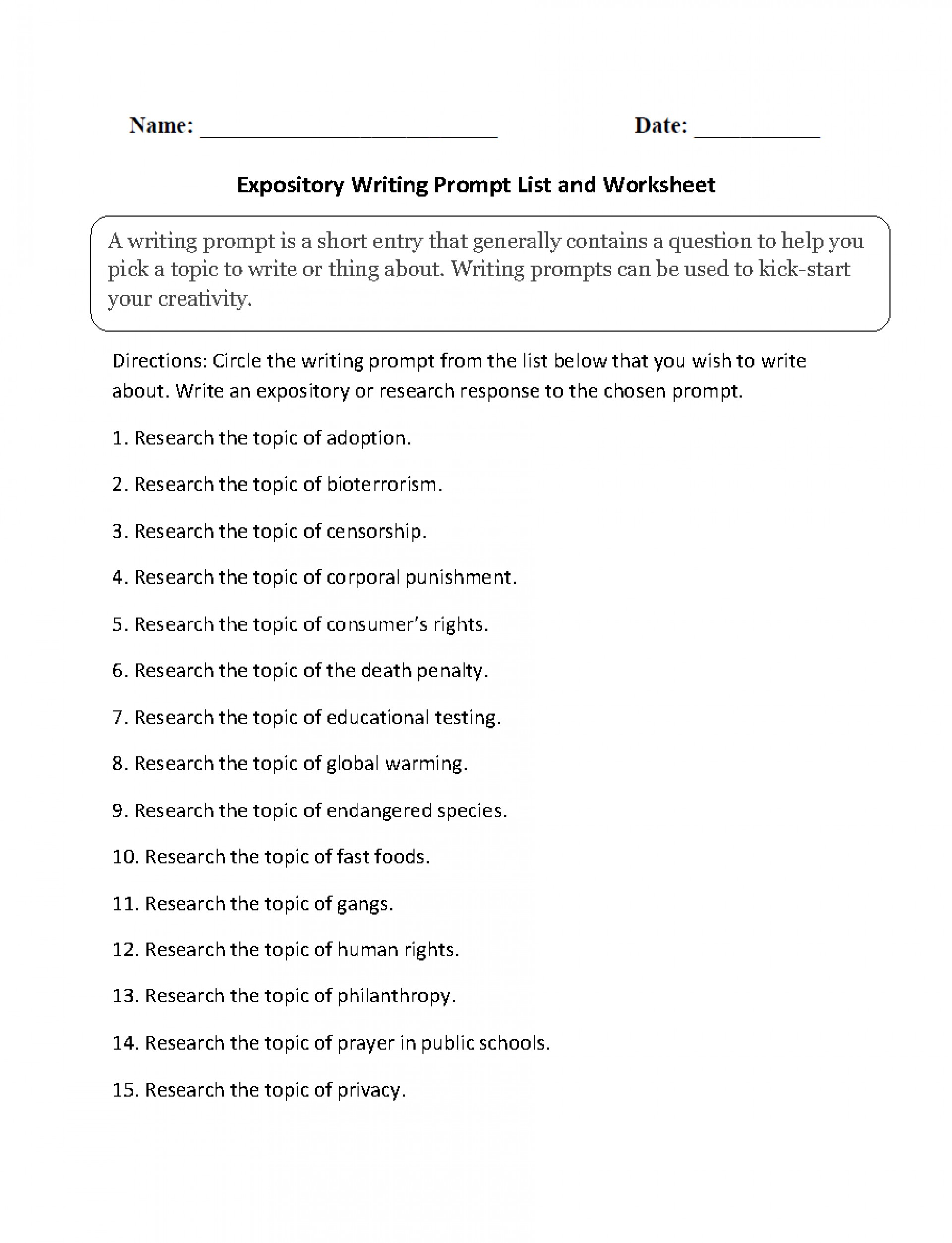 019 Expository Topics List Paragraph Essay Writing Prompts Middle School Incredible 5 1920
