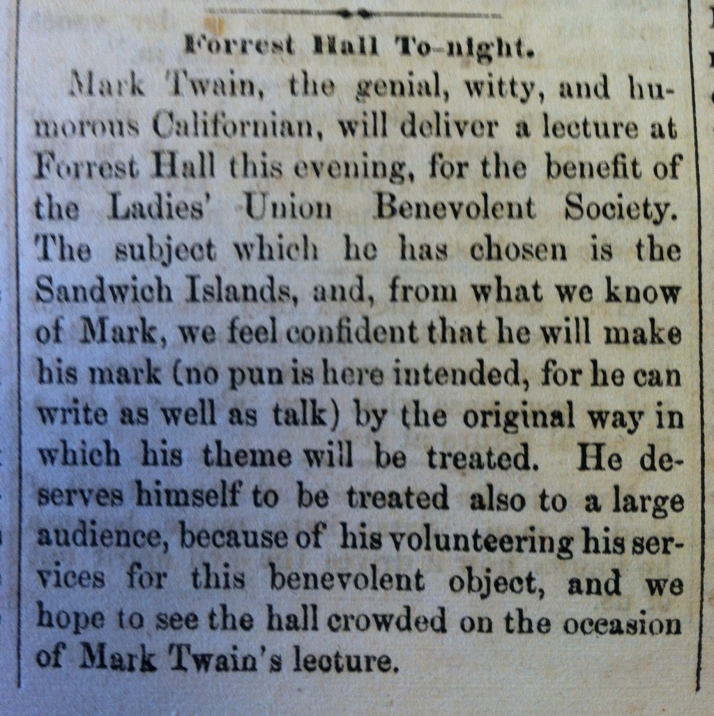 019 Georgertown Courier  Mark Twain At Forest Hall Copy Respect Essay To SurprisingLarge