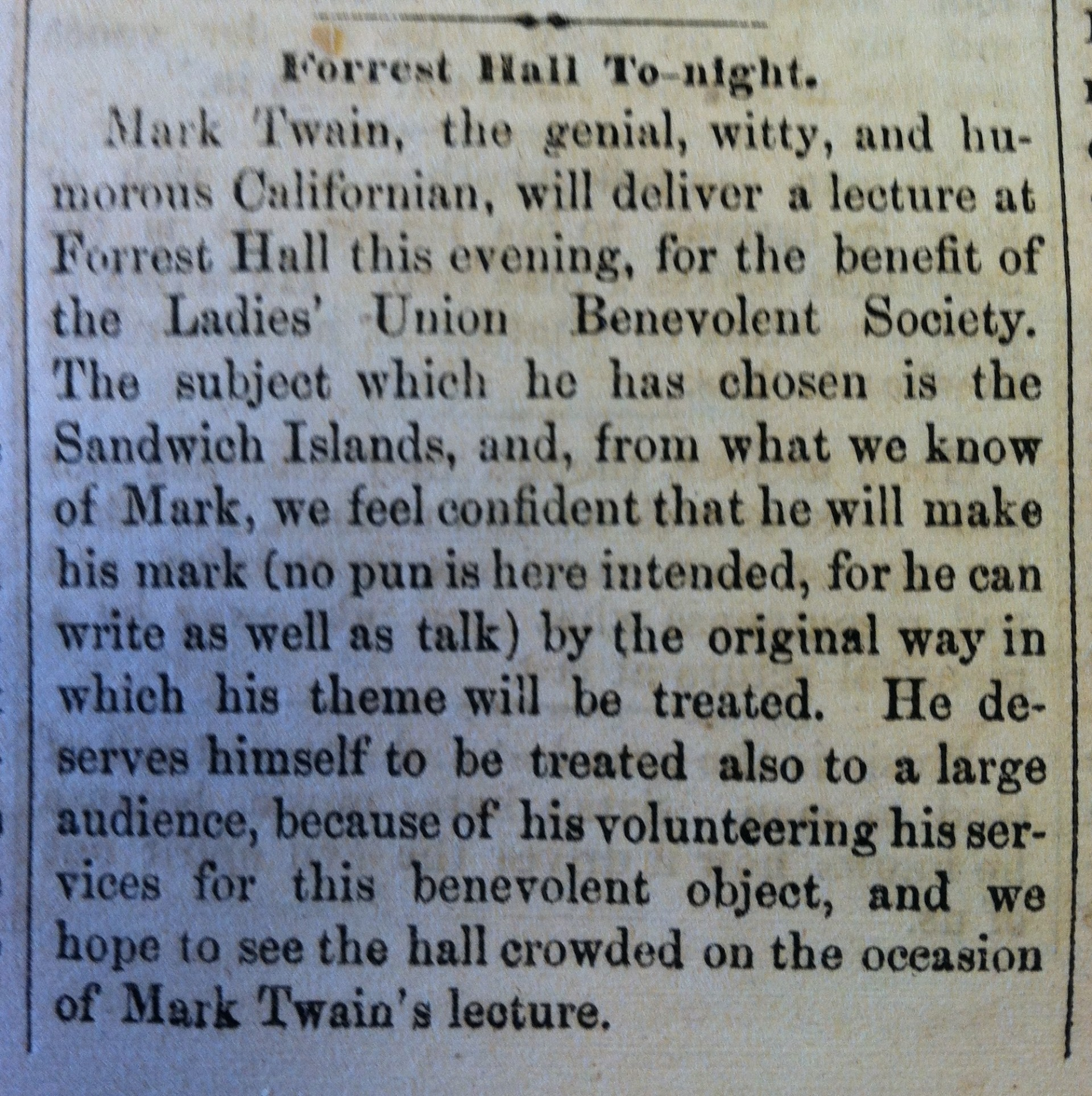 019 Georgertown Courier  Mark Twain At Forest Hall Copy Respect Essay To Surprising1920