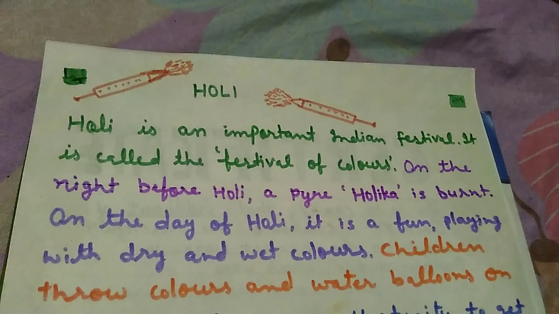 019 Holi Festival Essay Example Top Of Colours In Hindi Punjabi Language For Class 2 1920