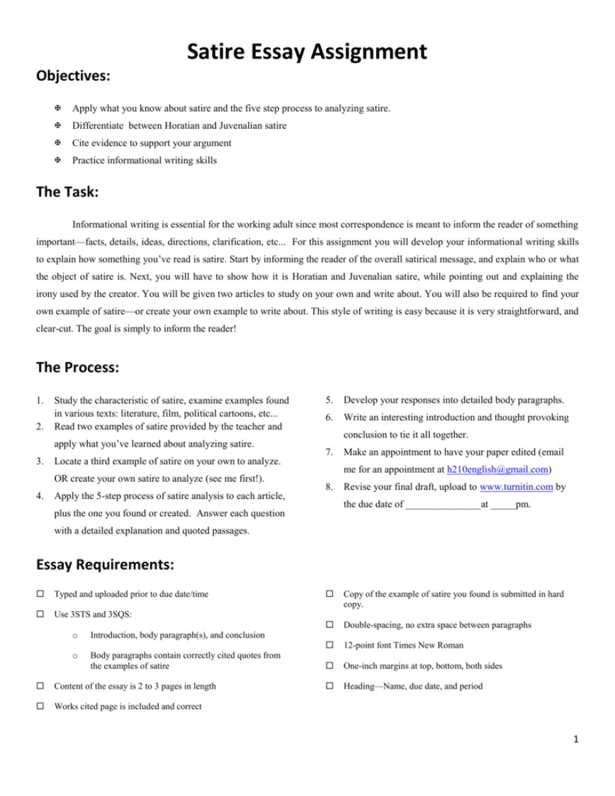 019 How To Write Satire Essay Example 009684950 1 Fascinating A An Introduction For Essay-example On Obesity 868