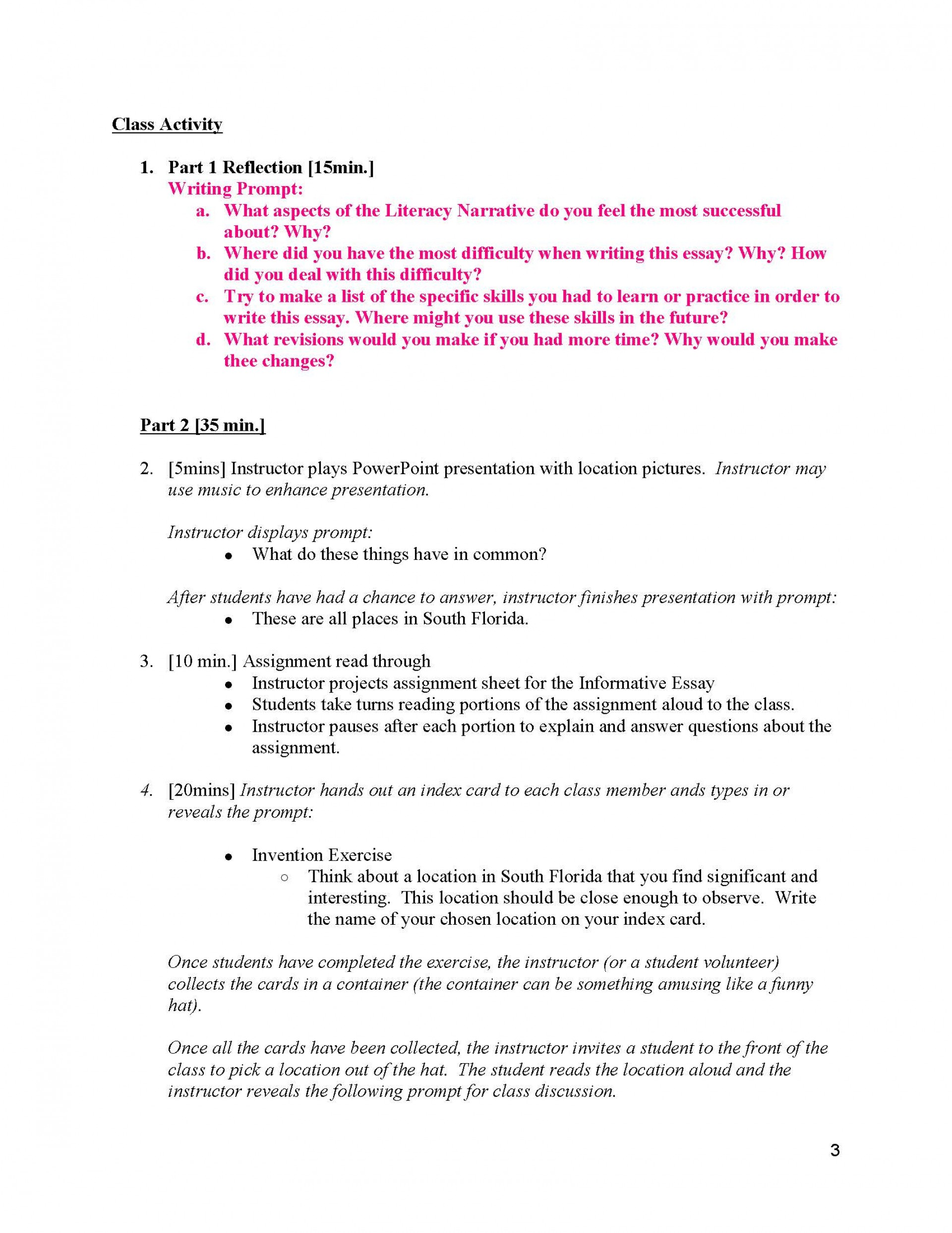 019 Informative Essay Example Unit 2 Plans Instructor Copy Page 03 Dreaded Prompts High School Topics 2018 Middle 1920
