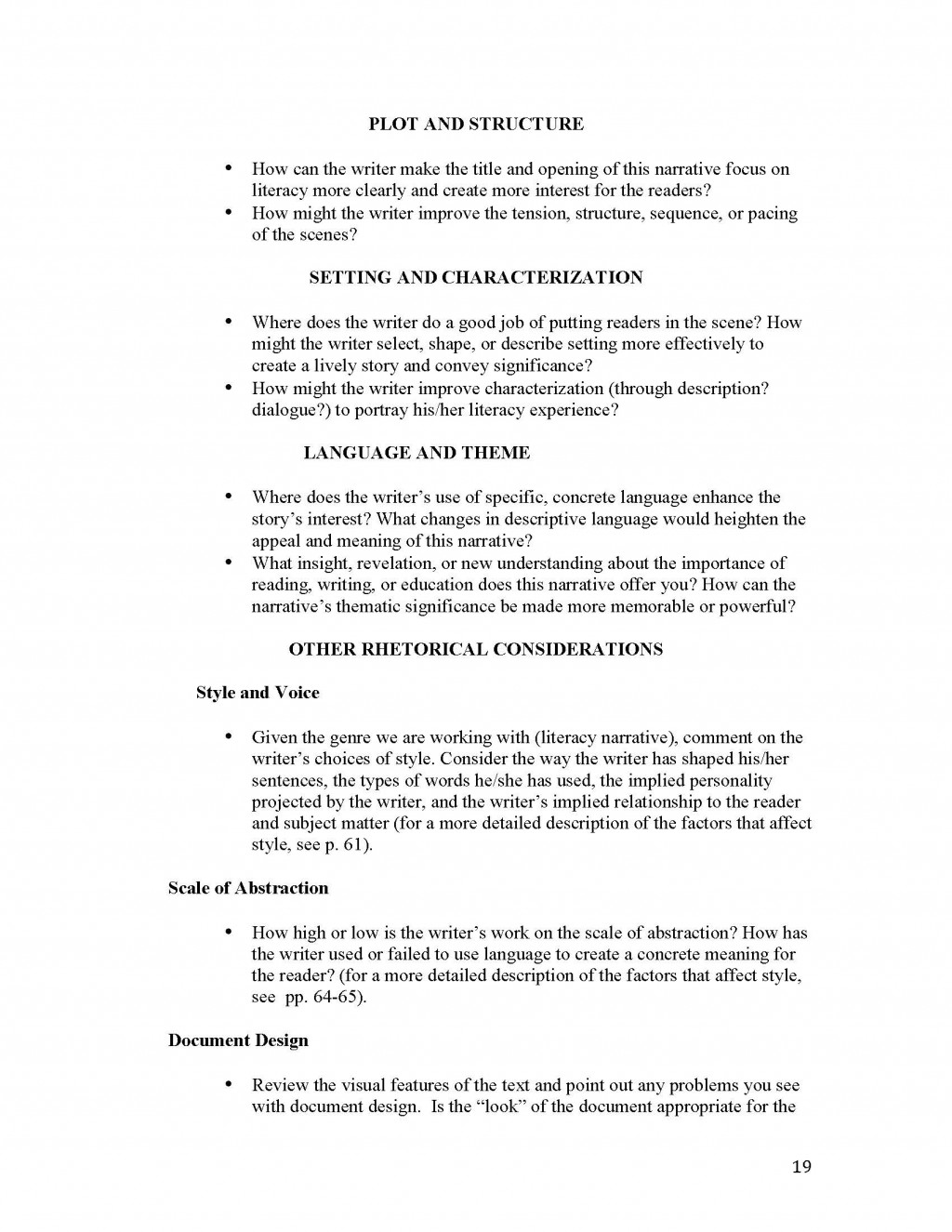 019 Narrative Essay Outline Unit 1 Literacy Instructor Copy Page 19 Impressive Doc Sample Large